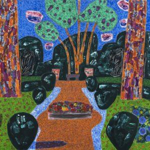 Vincent Bioulès, Juillet 68, 2021, huile sur toile, 130x162cm, Courtesy Galerie La Forest Divonne